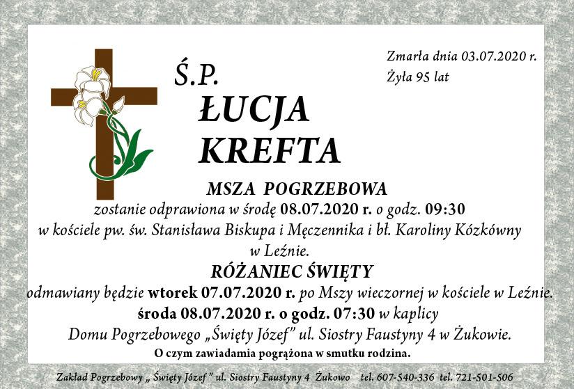 Nekrolog Łucja Krefta